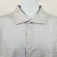 Jos A Bank Reserve No Wrinkles Mens Brown Blue Check L/S Button Shirt Sz 18 - 34