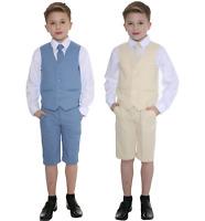 Boys Suits Linen Suit, 4 Piece Short Set Suit, Wedding Page boy Formal Baby Boys