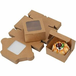 """60Pc Bakery Boxes with Window for Cookies Cupcakes Donuts Muffins 4x4x2.5"""""""