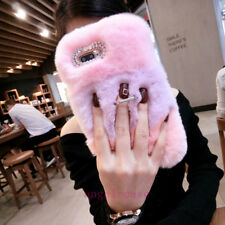 Luxury Bling Crystal Fluffy Fuzzy Rabbit Fur Ring Stand Lanyard Phone Case Cover