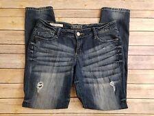 Decree Super Skinny Juniors Distressed Dark Wash Blue Slim Jeans Tag Size 13