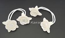 2 Stück Blüten Blumen Haargummi Kinder Mädchen Haarschmuck Zöpfe Glitter Weiß