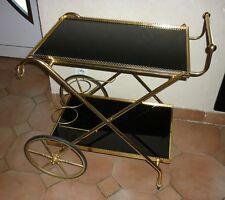 Table desserte roulante vintage métal doré verre noir  trolley bar ( Dlg Jansen)