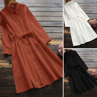Womens Belted Long Sleeve Collared Button Up Casual Loose Solid Midi Shirt Dress