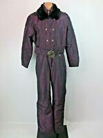 VTG 80s Fera Purple Iridescent Fur Collar One Piece Ski Snow Suit Womens 8