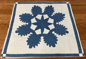 Indigo Blue! Early ALBUM Quilt pc Applique Antique Nice Quilting!