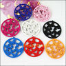 12 New Charms Mixed Wooden Round Animal Butterfly Craft Pendants 45x47mm