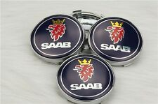 Set of 4 SAAB BLACK Center Cap Hub Alloy Wheel 63mm for 9-3 9-5 900 9-3 93 95