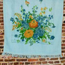 Vintage Bath Towel Blue Floral 70's 80's Print Terry Cloth 24 x 42 In. Bouquet