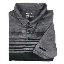 Reebok Golf Polo Shirt Mens 5XL Short Sleeve Gray Black Striped Embroidered Logo