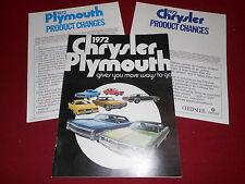 1972 CHRYSLER & PLYMOUTH BROCHURE, CATALOG 72 BARRACUDA SATELLITE FURY DUSTER +