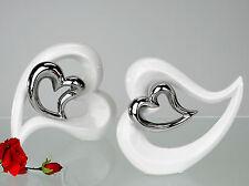 Moderne trendige Deko Herz Vase liegend weiß mit silbernem Herz