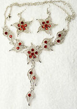 vintage style new jewelry set red flower set crystal necklace earrings silver t
