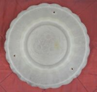 "Vintage Frosted Glass Lamp Shade w/ Flowers Ruffled Edge 9 3/4"" Wide"