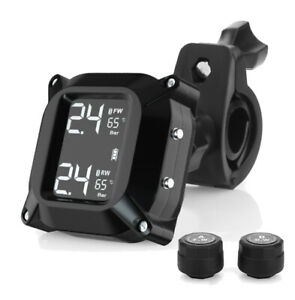 Motorcycle TPMS Tire Pressure System Monitoring 2pcs Sensor Real-Time LCD Screen
