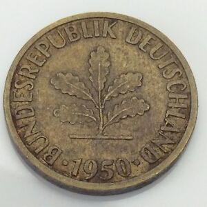 1950J Germany 5 Five Pfenning Deutschland German Circulated Coin E733