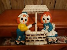 Raggedy Ann/Raggedy Andy Wall Plaque Wishing Well Bobbs/Merrill Co.- Vintage