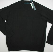 PERRY ELLIS Men's Black Cotton/Rayon LS V-Neck Sweater (L) NEW NWT $70