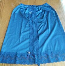Half Slip Sliperfection USA Vibrant Color Blue Vintage Lace Embroidered Flower