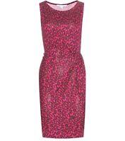 Diane von Furstenberg Printed Silk Dress DVF Pink Rose Lip Sz 10