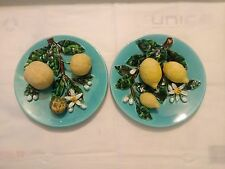 Palissy Majolica Barbotine. French Antique plates. Menton. France