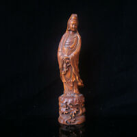 Chinese Collectible Boxwood Figure Carved Guanyin Decorative Statue FL012