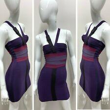 New Herve Leger Women's Purple Mini Bandage Bodycon V-Neck Dress Size XS