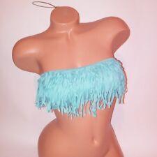 Victoria Secret Swim Bikini Top Solid Ash Green Fringe Small Bandeau Strapless
