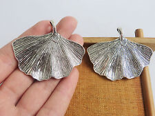 4 Large Tibetan Silver Ginkgo Leaf Charms Pendants for Jewellery Making Findings