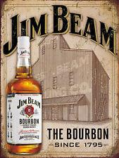 Jim Beam bourbon, retro vintage style metal sign/plaque shed bar pub