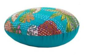 """18"""" Indian Handmade Kantha Round Cover Home Decorative Cushion Cover Turquoise"""