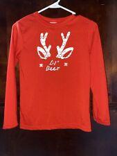 Wondershop Target Kids Lil Deer Pajama Top Only Size 10 Years Youth Red Euc
