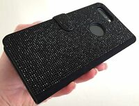 Black Jet Made with Swarovski Crystals Bling Card Wallet Case iPhone 7/8 Plus