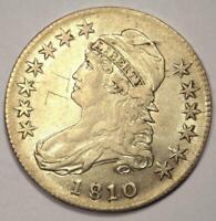 1810 Capped Bust Half Dollar 50C - AU Details (Graffiti) - Rare Coin!