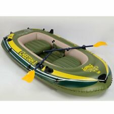 """Cheetah 3-4 Person Inflatable Kayak with Oars and Pump 110"""" Fishing Raft Boat"""