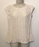 Pixley Small Beige Lace Shirt Short Cap Sleeve Zip Back Scoop Neck Nylon Stretch