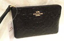 Coach Black Signature Debossed Patent Leather Corner Zip Wristlet Purse F58034