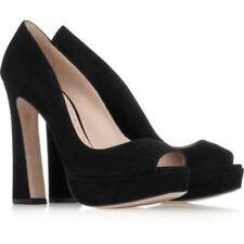 Most Wanted MIU MIU en daim compensées bout ouvert Escarpins Talons Chaussures 38.5 UK 5.5 US 8.5