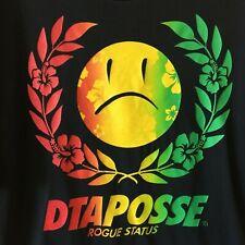 DTA Posse Rogue Status Sad Face Tee Shirt Hawaiian Lei Hibiscus Men's XL