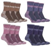JEEP - 3 Pack Cotton Outdoor Walking Hiking Boot Socks for Ladies / Womens
