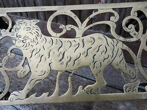 Unusual 19thC Brass trivet stand with strolling Tiger c1880