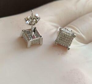 Men 14k White Gold Sterling Silver Lab Diamond Square Push Back Stud Earrings
