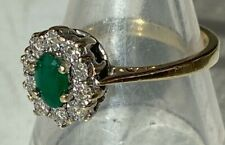 BEAUTIFUL VINTAGE 9CT GOLD EMERALD & DIAMOND RING