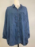 Women's JOAN VASS Size 2X Chambray Blue Button Down Top Blouse Tencel Denim