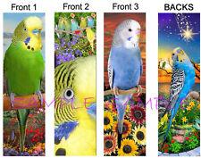 3 set-BUDGIE Parakeet BOOKMARK Parrot Pet Bird Green BLUE Book Card ART Figurine
