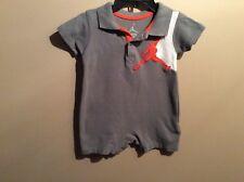 Baby Boys Jordan Gray Orange White Polo Romper Outfit Size 6-9 Months