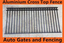 Aluminium Cross Top Pool Fencing /Garden Fence - Black 2.4m x 1.2m
