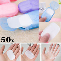 50x Portable Outdoor Travel Mini Soap Paper Washing Hand Bath Clean Scent Sheet