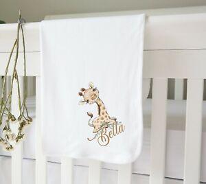 Personalised White Cotton Soft Baby Crib Nursery Pram Blanket - Baby Giraffe