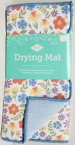 """Kitchen Microfiber Drying Mat (14""""x21"""") EASTER TOSS PEREWINKLE FLOWERS,blue,Ritz"""
